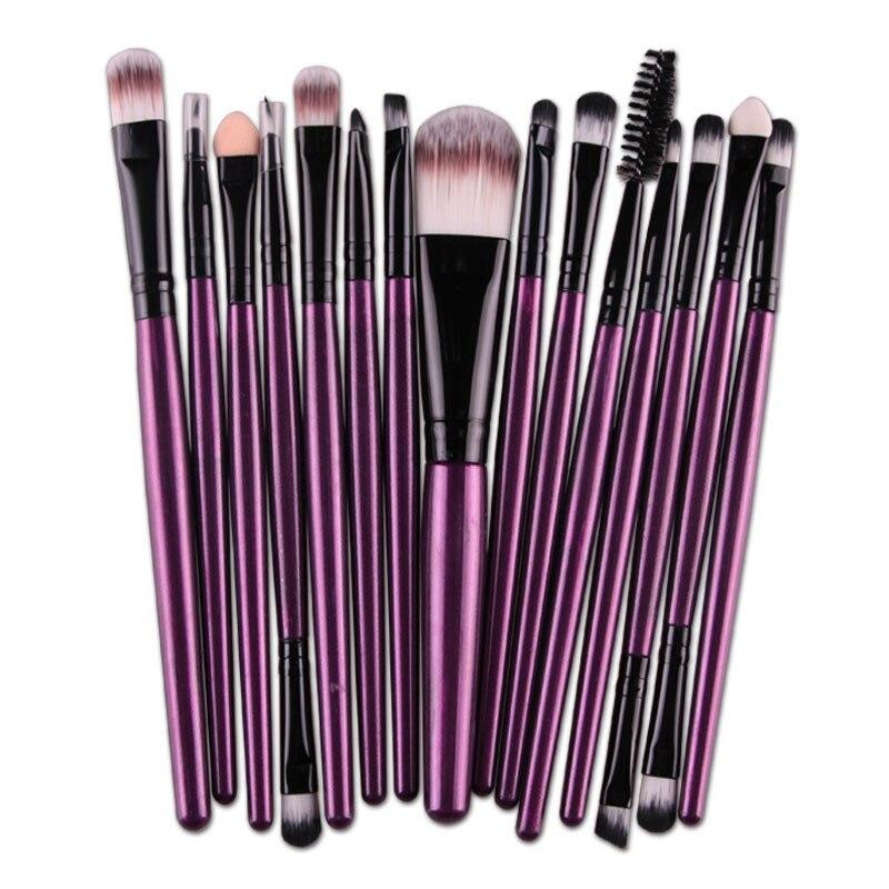 15 pçs/sets pincéis de maquiagem conjunto sombra de olho pro fundação sobrancelha lábio escova pro pincéis de maquiagem para mulher senhora cor roxa h7jp