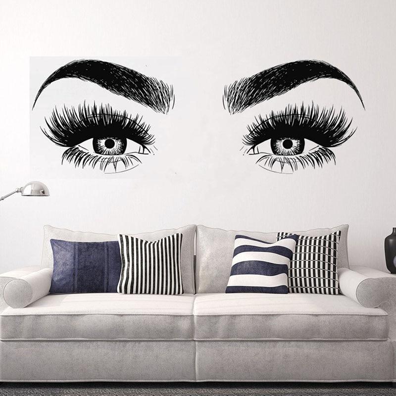 YOYOYU Beauty Salon Art Vinyl Wall Sticker Eyes Eyelashes Girl Bedroom Removeable Decal Living Room Home Decoration Poster ZX398