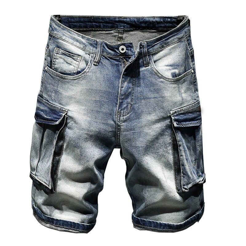 MORUANCLE pantalones cortos vaqueros Cargo para hombre con bolsillos grandes pantalones cortos tácticos Jeans para hombre suelto holgado Fit talla recta 28-36