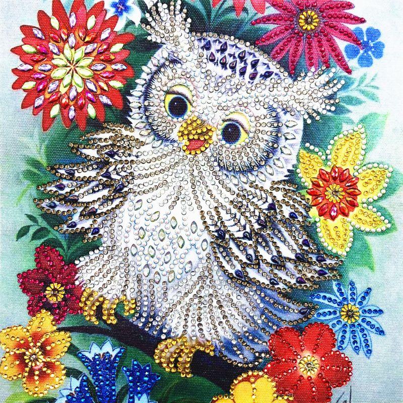 Flor búho 5D especial en forma de diamante pintura bordado costura Diamante de imitación cristal kit para manualidades de punto de cruz DIY
