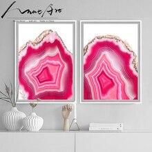 Affiche de peinture abstraite décoration de maison   Toile, art mural moderne nordique, pierres dagate rose en marbre, images pour salon, offre spéciale