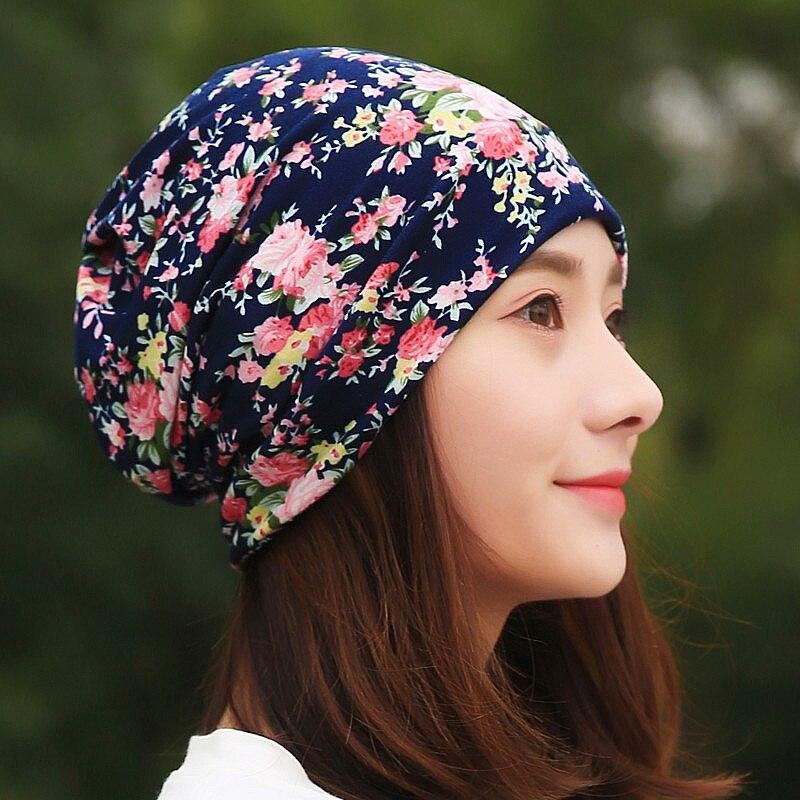 Женский хлопковый шарф-бини LongKeeper, весенне-осенние шапки из бамбука с цветком, шапки в стиле хип-хоп, TTM3-E