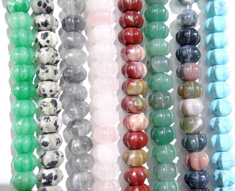 8x10mm Natürliche tiger eye stein kristall Achate türkisen verkrustete Kürbis Perlen für DIY Schmuck Machen Mode Armband 50 stücke strang