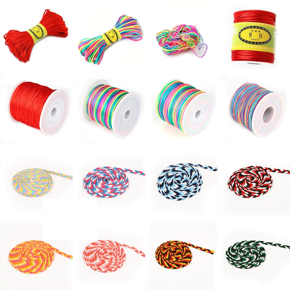 New Hot Selling 28 styles Stretch Cord Rubber Rope Nylon Bracelet Beads Strings Hair Strips Accessory DIY Cotton Twisted Cord
