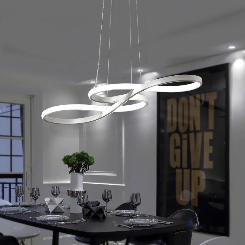 Luces colgantes Led modernas para el hogar, Lustres blancos y negros de aluminio para el comedor y la sala de estar, Lustres de lámparas colgantes Led, Colgante