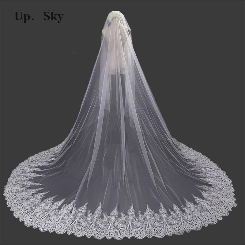 Velo de boda de tul largo, blanco, 3 M