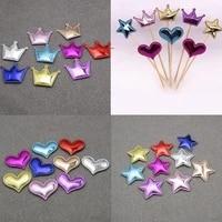 81pcs lot multi design crown star felt pentagram pu leather padded applique diy craft birthday cake card