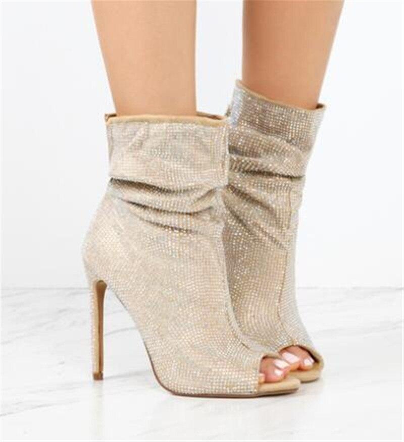 Sestito, gran oferta, Stilettos de cristal para mujer, vestido de tacón alto, zapatos de boda, sandalias de Punta abierta para mujer, botines, zapatos deslizantes para niñas