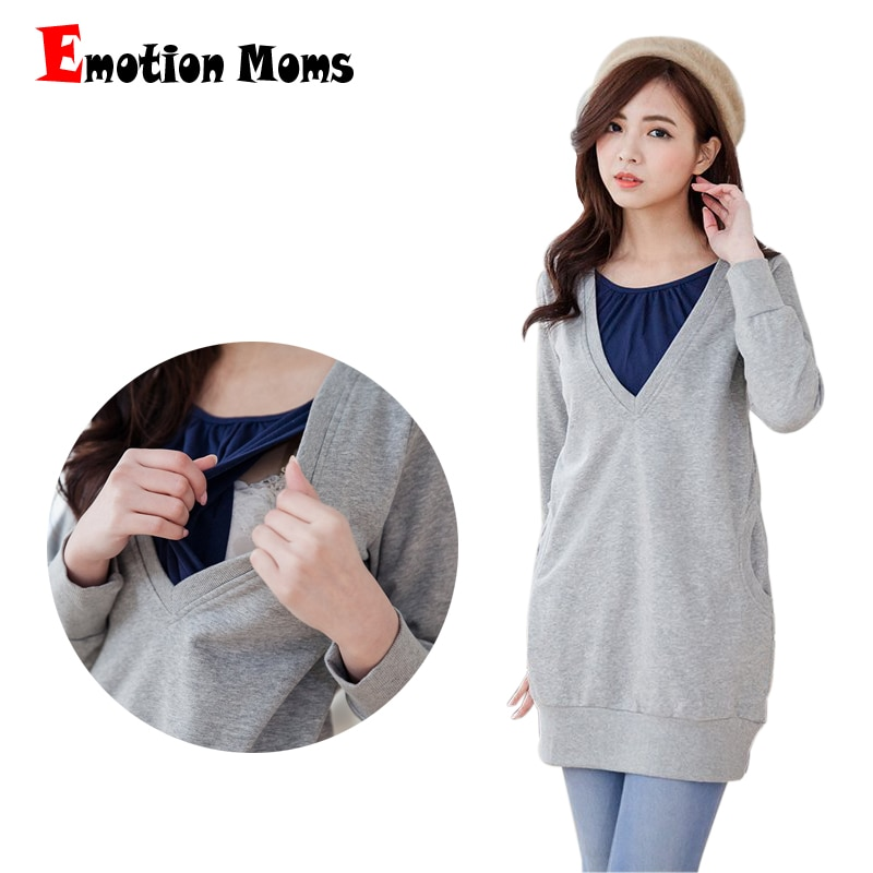 Emotion Moms Winter Maternity clothes Lactation Top BreastFeeding tops pregnancy Clothes For Pregnant Women Maternity Sweater enlarge