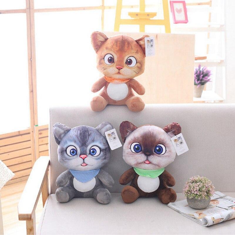 20cm Nette Weiche 3D Simulation Ausgestopfte Katze Spielzeug Doppel-seite Sitz Sofa Kissen Kissen Kawaii Plüsch Tier Katze puppen Spielzeug Geschenke