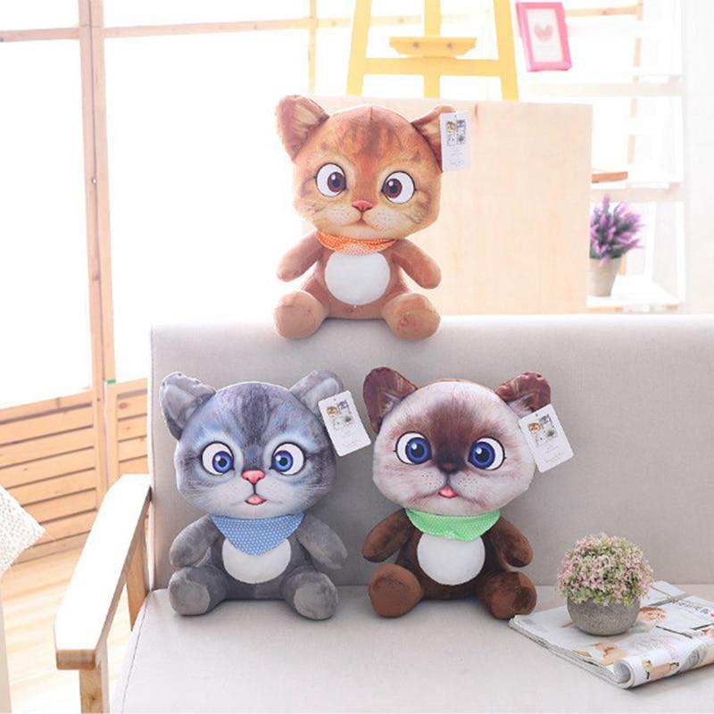 20cm lindo suave 3D simulación de gato de peluche de juguete de doble cara asiento sofá almohada cojín Kawaii de peluche Animal gato muñecas juguetes regalos