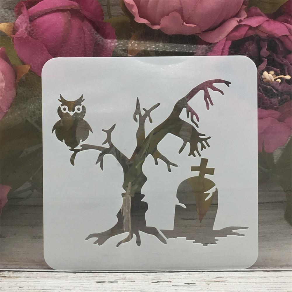 13*13 centímetros Fantasma Coruja Árvore Tomb Halloween DIY Camadas Stencils Pintura Coloração Embossing Recados Álbum Modelo Decorativo