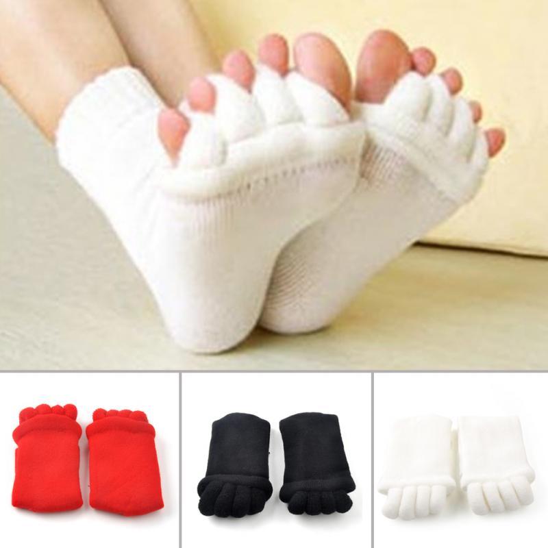 Calcetines informales de Diseño novedoso con cinco dedos, separador de masaje, alivio del dolor en el pie, salud suave para mujeres, calcetines elásticos para aliviar el dolor en el pie