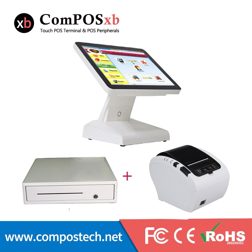 نظام نقاط البيع في الصين بشاشة تعمل باللمس مقاس 15 بوصة ، الكل في واحد ، مع درج نقود وطابعة حرارية 80 مللي متر