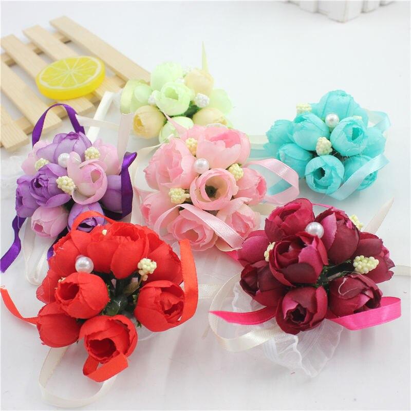 Simulation de ruban romantique 1 pièce/lot   Fleur artificielle, fleurs décoratives pour poignet de mariage