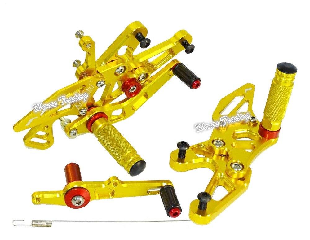 Waase CNC ajustable piloto trasero conjuntos Rearset reposapiés pie resto clavijas de oro para BMW S1000RR S1000 RR 2015