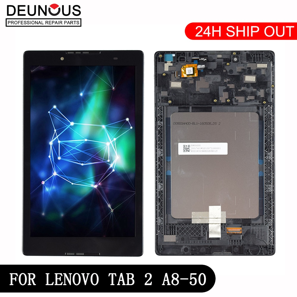 New 8'' inch For Lenovo Tab 2 A8-50F Tab2 A8-50LC A8-50 Tablet PC Touch Screen + LCD Display Assembly Parts with Frame