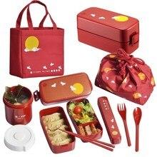 Caja bento de plástico de estilo japonés, loncheras de dibujos animados, contenedores de comida para microondas, vajilla con bolsas, cucharas, palillos