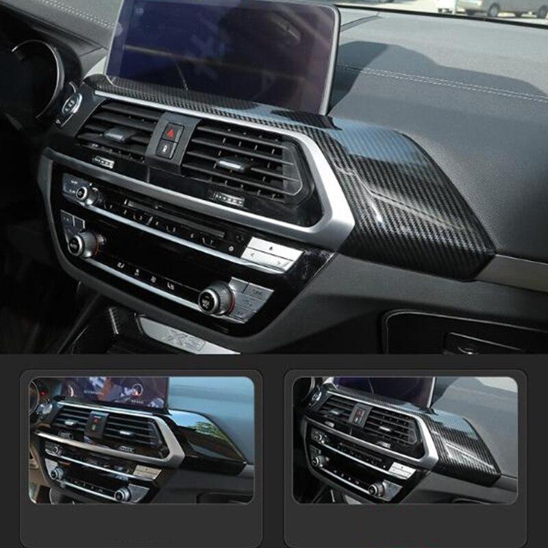 ABS fibra de carbono para BMW X3 G01 X4 G02 2018 2019 decoración de la consola del coche tira de cubierta embellecedora accesorios de estilo de coche 1 Uds