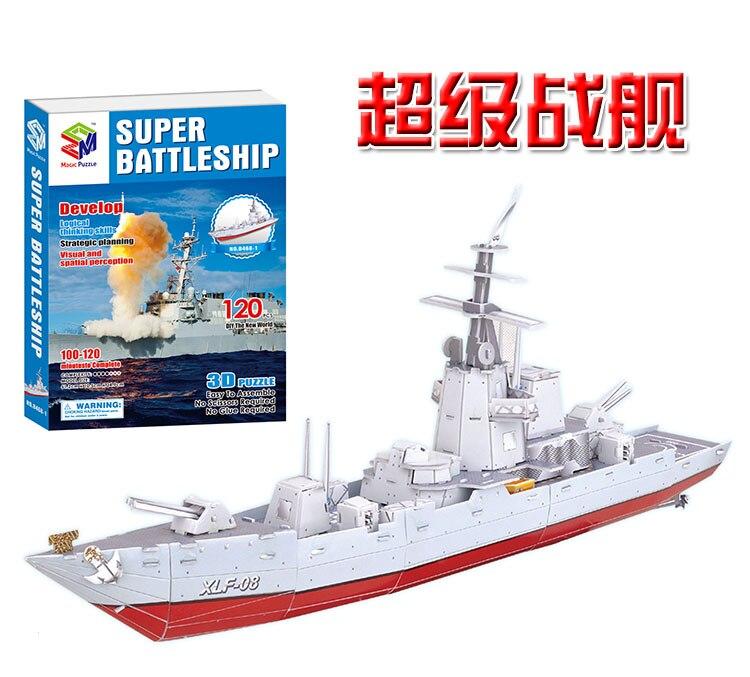 Juguete creativo militar serie super barco crucero barco 3D papel DIY rompecabezas modelo niños chico juguete de regalo juego 1 pc