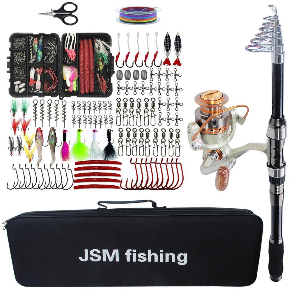 مجموعة أدوات صنارة الصيد ، صنارة صيد دوارة تلسكوبية ، بكرة مع خطافات طعوم ، حقيبة صيد ، ملحقات
