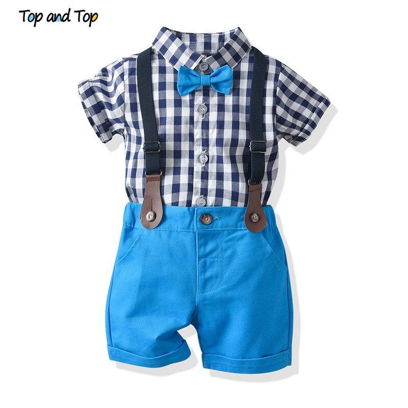 Partes de arriba conjunto de ropa para niño pequeño de verano para niños pequeños, camisa de manga corta a cuadros Tops + tirantes cortos, traje de caballero para boda