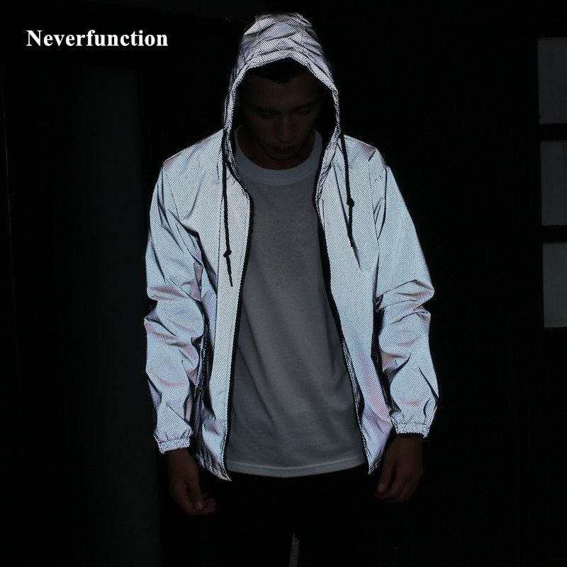 Spring autumn Men Loose full reflective Hooded Windbreaker waterproof Jacket male Casual hip hop baseball Coats Plus Size 4XL