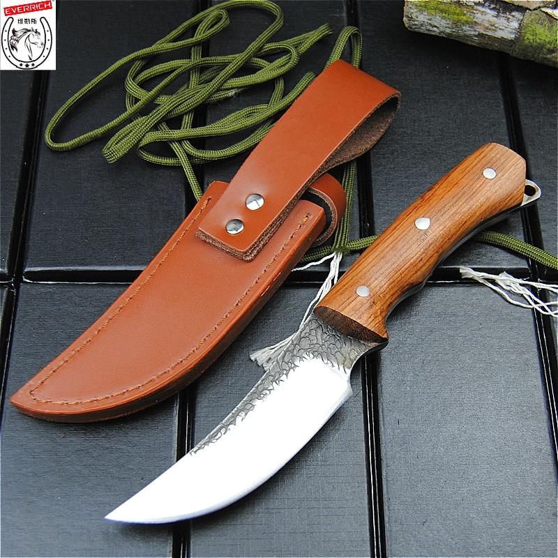 Everrich japonês handforged primavera aço honghua pêra punho de madeira faca reta ao ar livre caça lâmina coleção faca