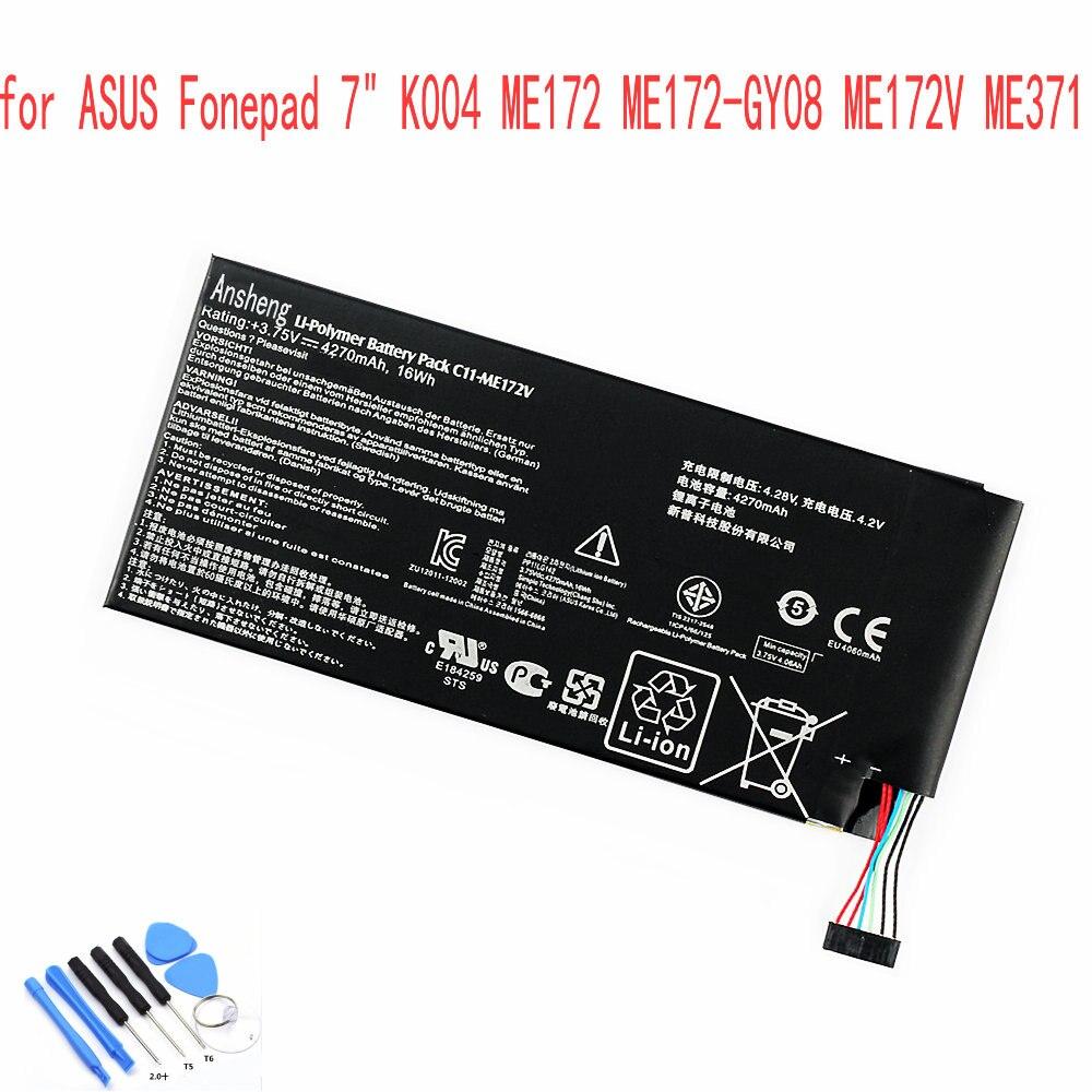 "Ansheng Original C11-ME172V 4270 mAh batería para Asus Fonepad 7 ""K004 ME172 ME172-GY08 ME172V ME371 ME371MG teléfono móvil"