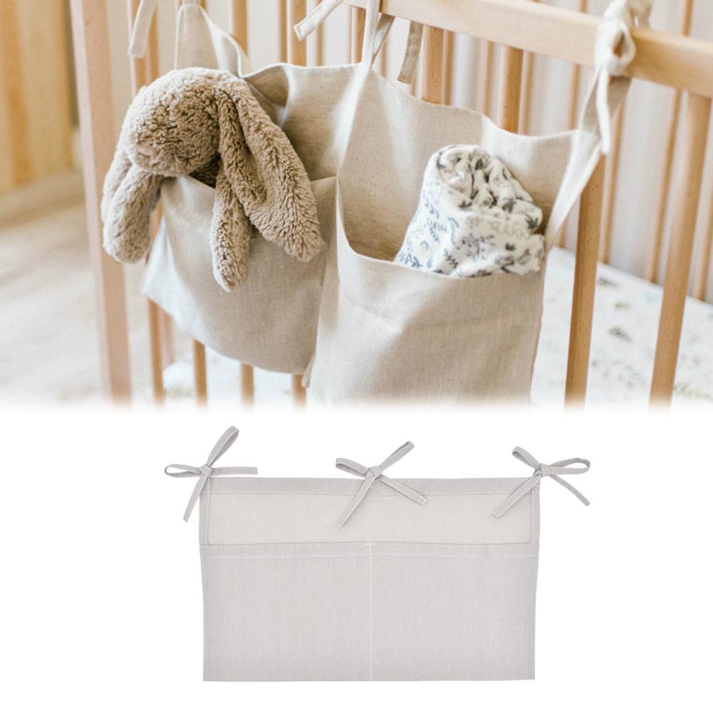 Sac de rangement   Sac de rangement de suspension de lit de bébé, lit de marque, organisateur de lit de bébé en coton 60*50cm, poche de couches de jouets pour ensemble de literie de berceau