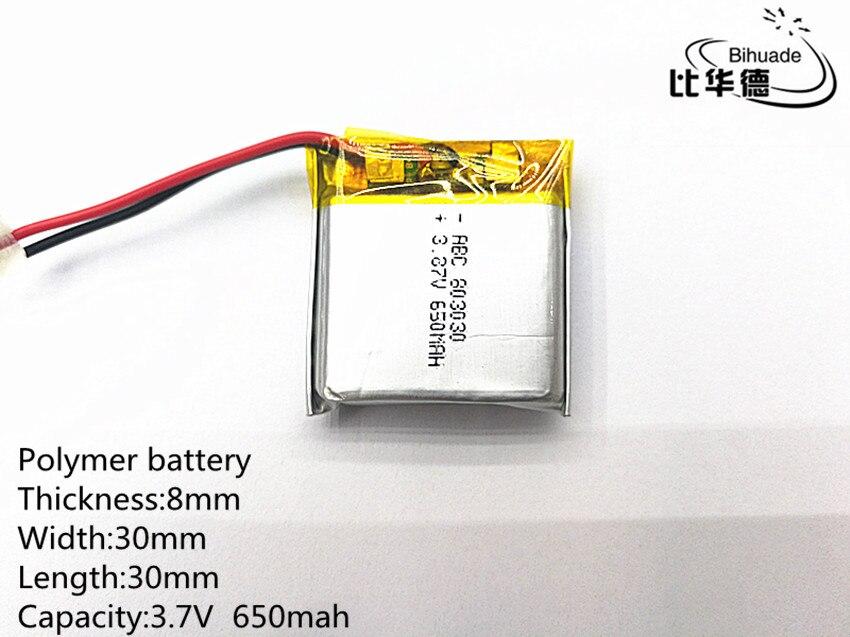 10 шт./лот, литровая батарея, 3,7 В, 650 мАч, 803030 литий-полимерная LiPo аккумуляторная батарея для Mp3 Mp4 Mp5 DIY