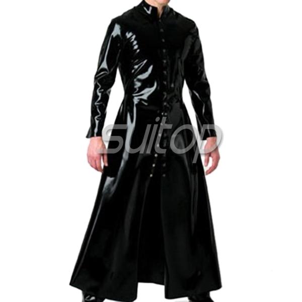 latex rubber wind coat latex long jacket for man