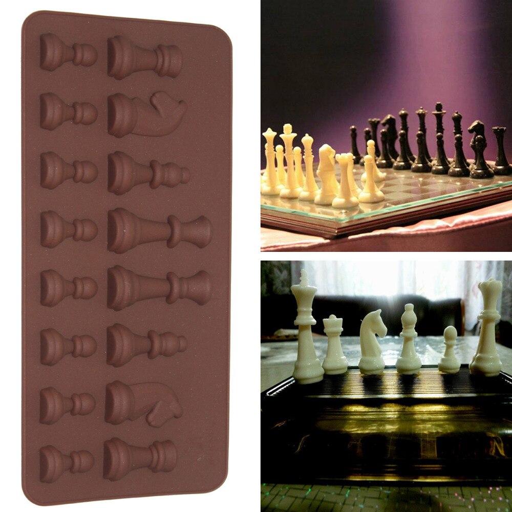 Piezas de ajedrez internacional 3D, molde de silicona de Chocolate para pasteles, galletas, accesorios de horneado molde de silicona moldes DIY