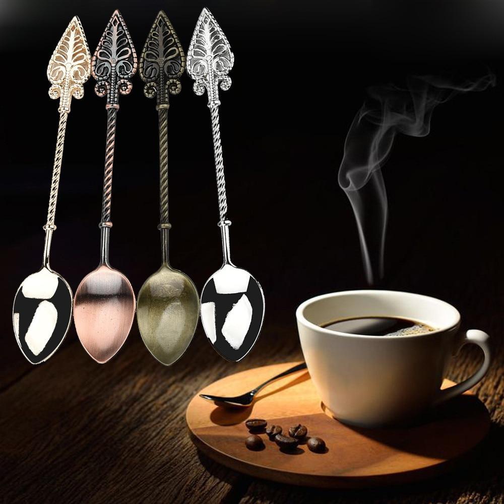 Vintage alloy coffee spoon Retro Coffee Spoon Sugar Tea Dessert Cake Cutlery Kitchen Tableware sugar skull spoons