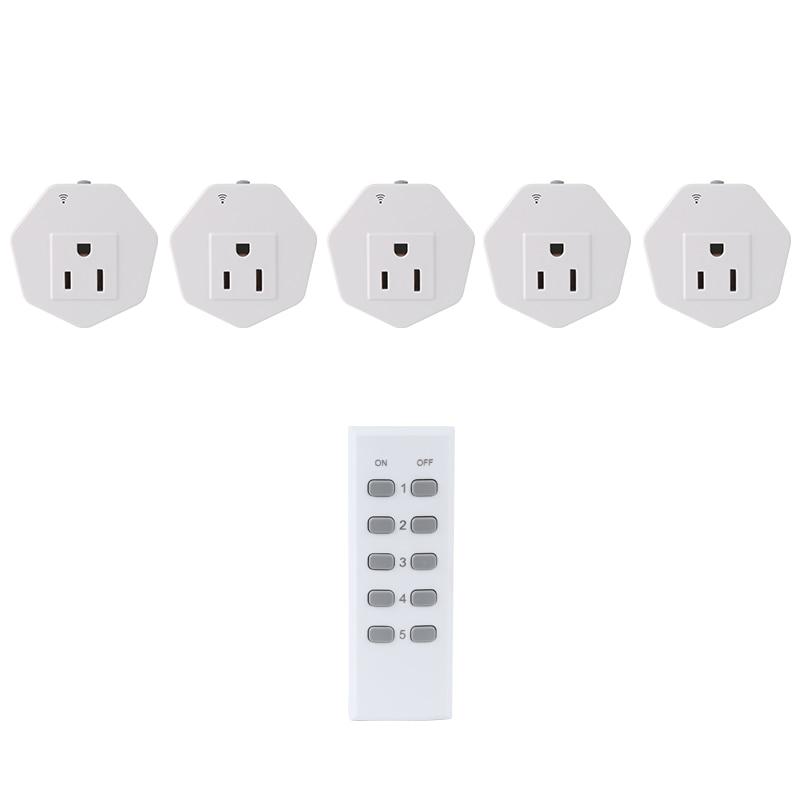 ESPLENTY  Remote Control Light Switch Smart Home Remote Control Socket Set (5 Electrical Outlets + 1 Remote)