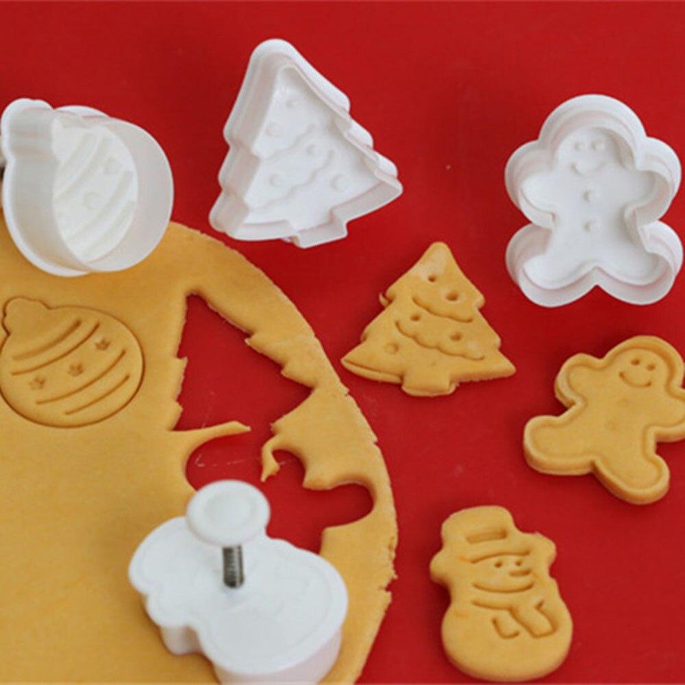 4 шт. формочки для печенья 3D плунжеры для печенья DIY Формочки Для Выпечки пряничного домика рождественские формочки для печенья
