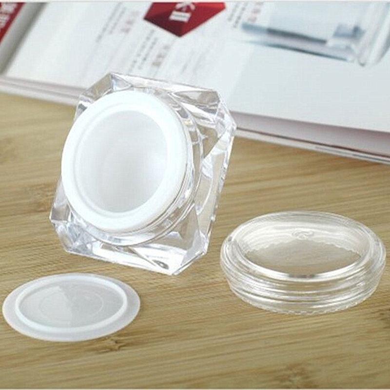 30pcs/lot 5g 10g 15g Acrylic Diamond Shape Cream Bottle Empty Makeup Packing Cream Jars Cosmetic Packaging Small Plastic Jar Pot