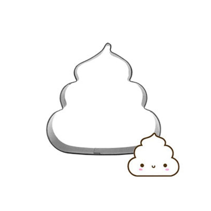 Fun Cartoon heces torta cortador galleta prensa galleta sello herramientas 3D moldes de jabón hornear accesorios acero inoxidable galletas sello