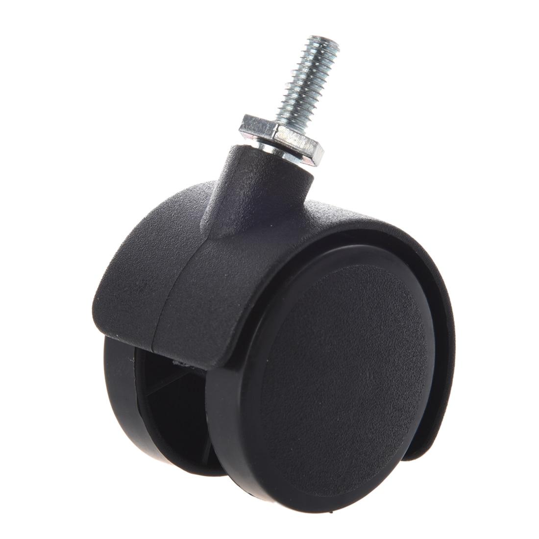 6mm Rosca Da Haste 40mm Dupla Roda Rodízio Giratório Preto