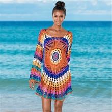 Rainbow Dress Womens Sexy Beachwear 2019 Explosion Models Summer Swimwear Blouse Crochet Bikini Blouse Cotton Shawl Dress