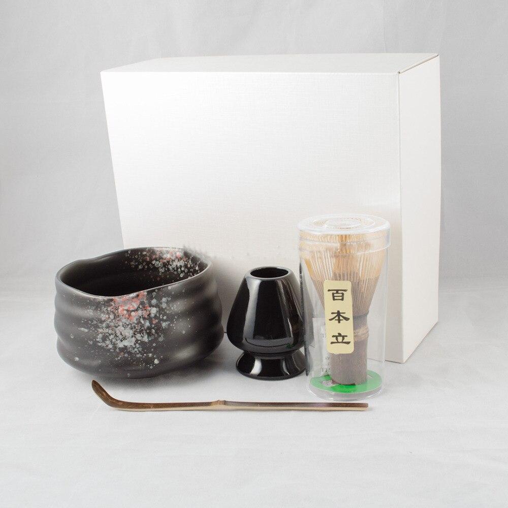 الساحرة 4in1 الأسود Giftset من شاي ماتشا أخضر أدوات الشاي فلامبيد المزجج ماتشا السلطانية اليدوية الخيزران Chasen خفقت حامل ومغرفة
