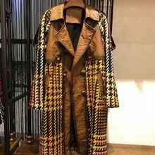 Revers taille réglable en peau de mouton Patchwork Tweed vestes femmes de qualité supérieure en cuir véritable longueur moyenne revers coupe mince ver manteaux