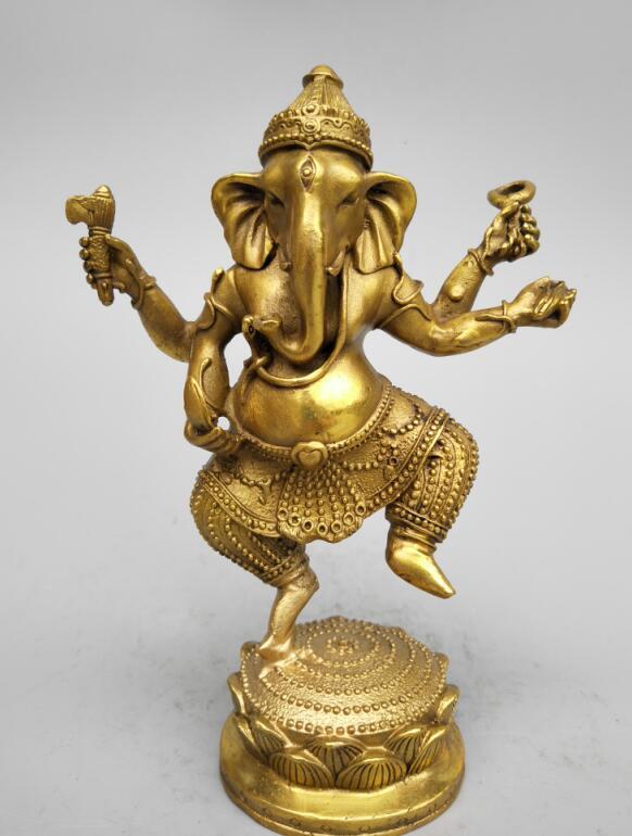 China's Seiko carving pure brass Lotus elephant head Buddha statue