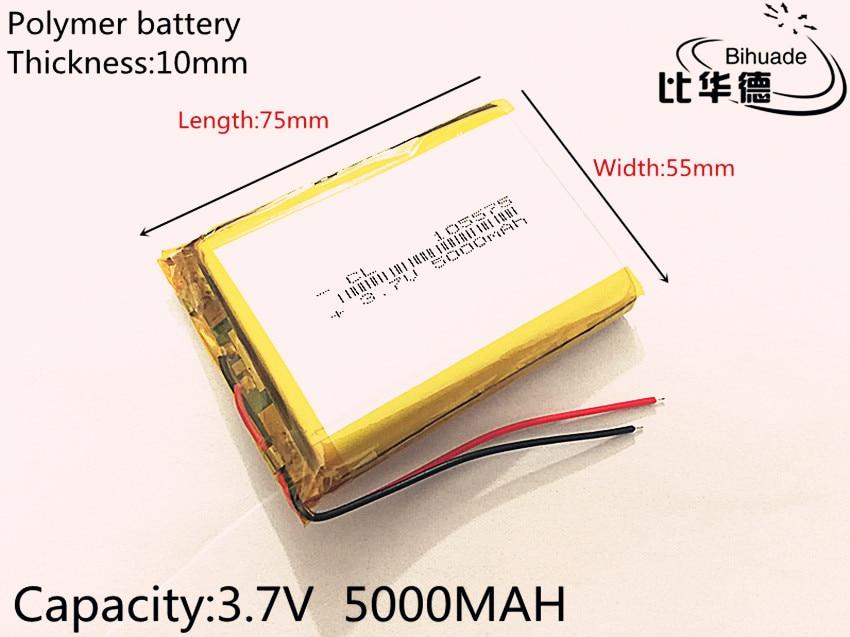 1pcs 3.7V 5000mAh 105575 Lithium Polymer Li-Po li ion Rechargeable Battery cells For Mp3 MP4 MP5 GPS PSP mobile bluetooth