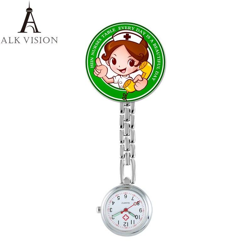 ALK Cartoon design nurse watch 2020 metal clip brooch nursing watches medical pocket fob lapel clock clip dropshipping gift фото