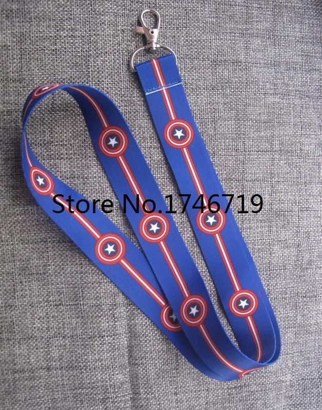 New 20  pcs cartoon Captain America  Key Chains  Neck Strap Keys Camera ID Card Lanyard  NL8