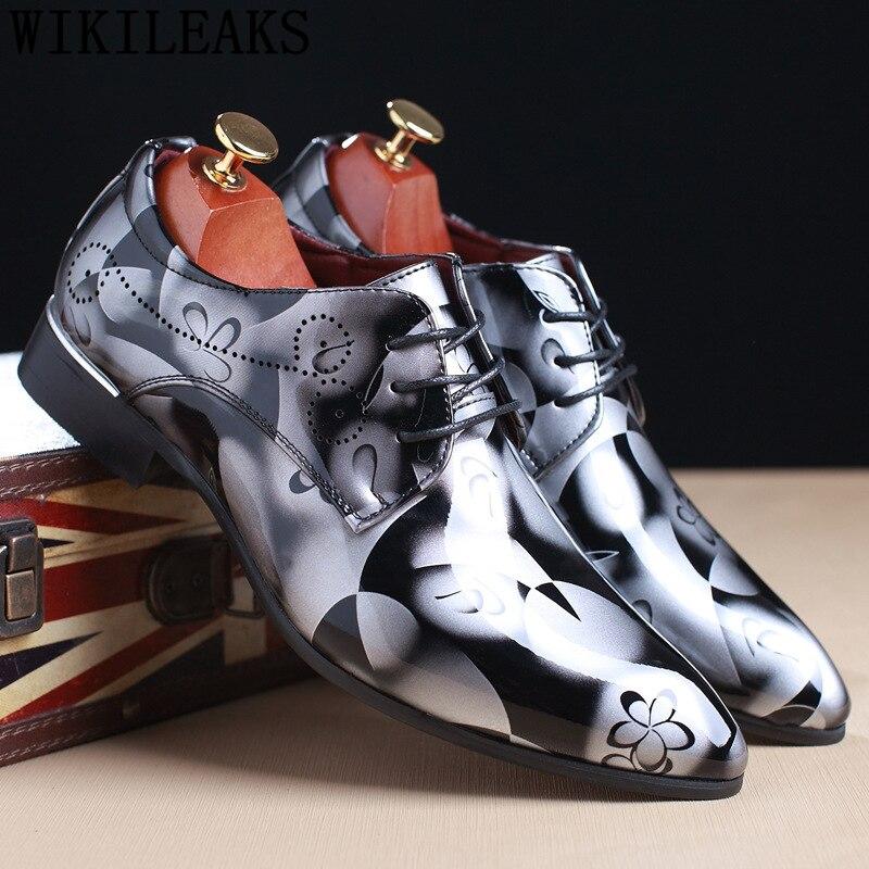 Coiffeur señaló zapatos para zapatos de fiesta para hombres de los hombres zapatos formales estilo Oxford Hombres Elegantes de cuero de boda Vestido negro de gran tamaño buena