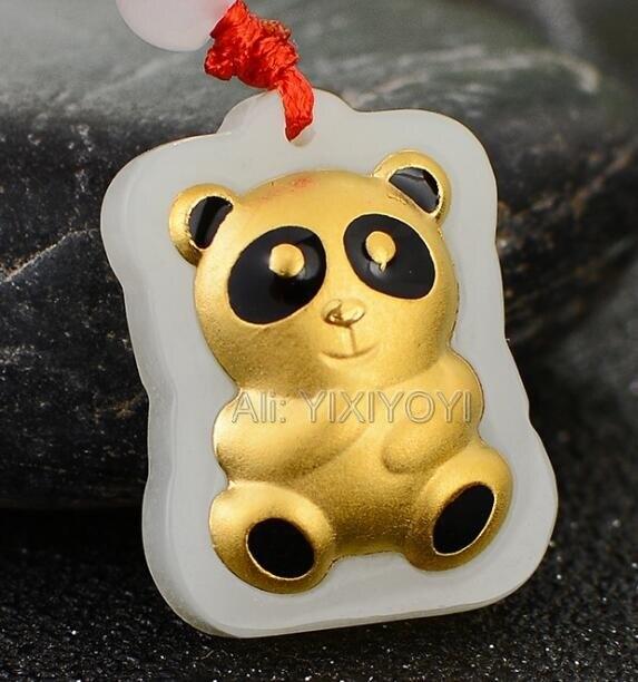 Maravilloso Jade blanco Natural Hetian + 18K oro sólido bonito bebé Panda diseño colgante de la suerte + collar de joyería fina gratis