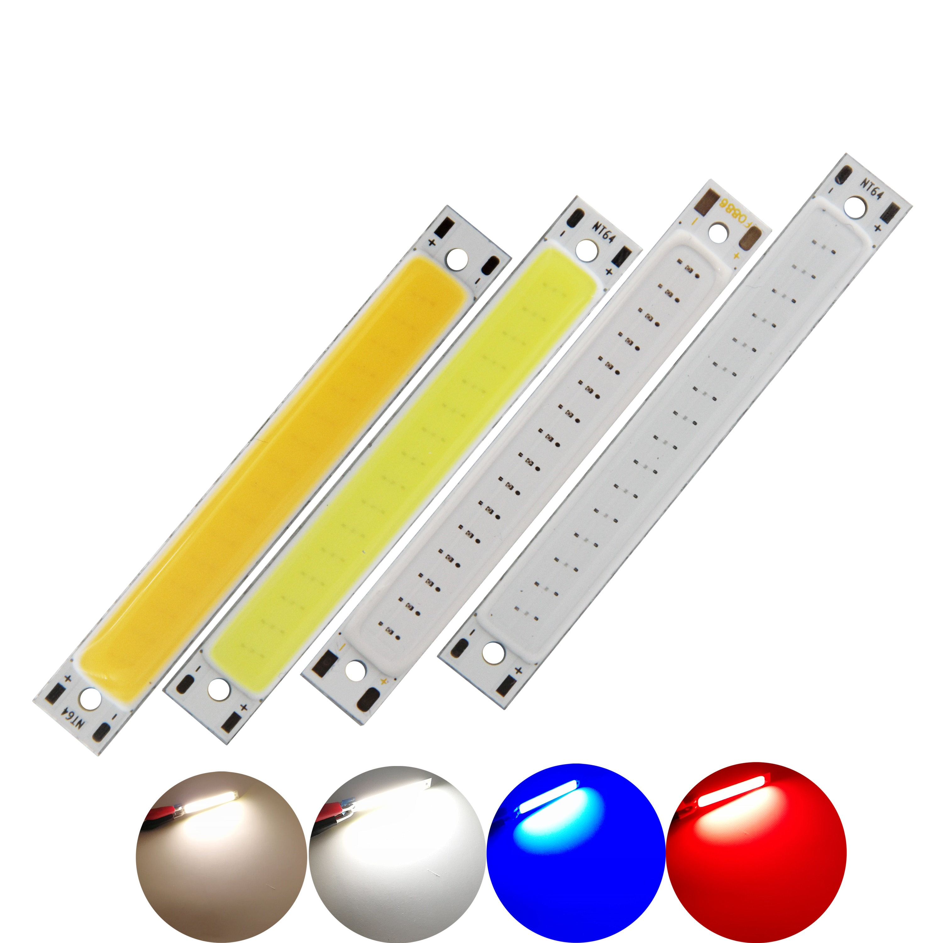 60x8mm 2v 3v led bulb cob strip 3 7v chip on board 60mm warm cold white blue red color 1w 3w led lighting for cob work lamps diy manufacturer 60mm 8mm LED COB Strip 1.5W 3W 3V 3.7V DC Warm White Blue Red COB LED source for DIY Bicycle work lamp light