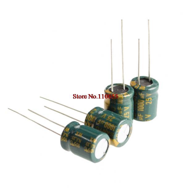 100 PCS 1000uF/25V 10*13mm DIP-2 25V 1000uF Aluminum Electrolytic Capacitor 1000uF25V